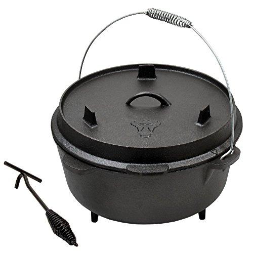 BBQ-Toro 12 QT Dutch Oven Topf I Kochtopf aus Gusseisen 14,3 Liter I Gusstopf DO570 I Bräter mit Deckelheber I Deckel als Grillpfanne I Outdoor Feuerkessel für Barbecue, Camping, Garten und Grillen