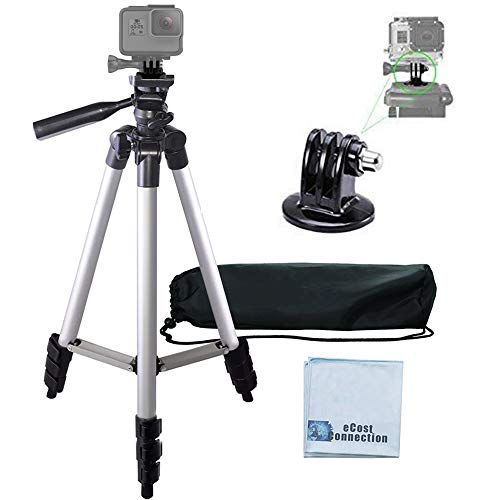 "50"" Aluminum Camera Tripod with Built in Bubble Level Indicator for All GoPro HERO Cameras + Tripod Mount & an eCostConnection Microfiber Cloth"