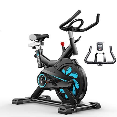 Wosxyeal Bicicleta EstáTica Bicleta de Gimnasio Sillín Ajustable Volante de inercia 6kg Adultos Unisex Máx.150kg Monitor LCD Entrenamiento Fitness Cardio Ejercicio Quema de Grasa Interior - Negro
