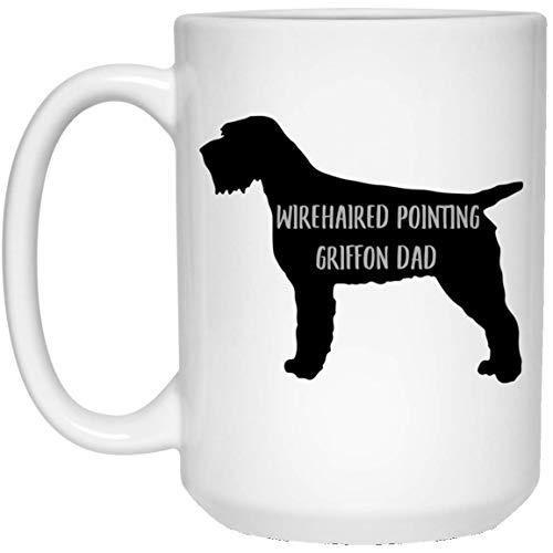 N\A Taza de café Blanca con diseño de papá de Silueta de Grifo de Pelo Duro Lindo para Hombres