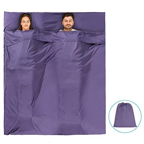 Yosoo Health Gear Fodera per Sacco a Pelo Doppia Larga, Foglio da Campeggio da Viaggio Sacco a Pelo Leggero o Campeggio, Viaggio, Hotel e Zaino - Tessuto Liscio e Traspirante