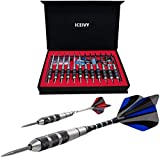 ICEIVY 12 Packs Steel Tip Darts Set 22 Grams with Non-slip Aluminum Alloy Shaft & Diffferent Style Flights, and Darts Sharpener with an Gift Box