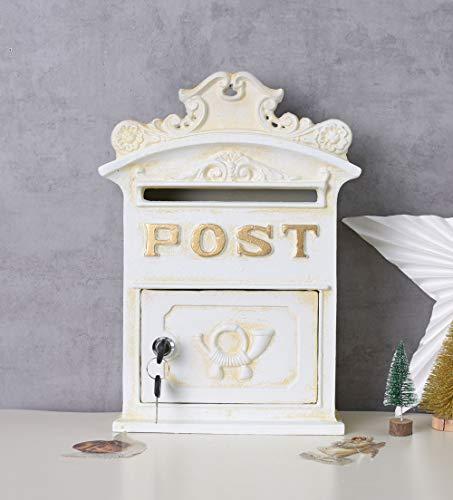 Historischer Wandbriefkasten Briefkasten Briefbehälter Eisenbriefkasten Kasten im Stil der Gründerzeit aus Gusseisen in Altweiß LTA327 Palazzo Exklusiv