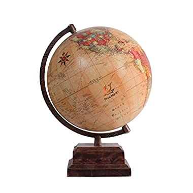 "TRUE NORTH World Globe with Strong, Heavy Duty Stand – Large 12"" Antique Finish Desktop Earth – Decorative And Educational for Kids - by"