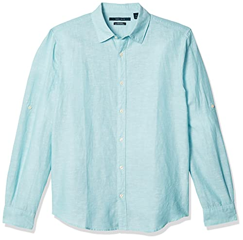 Perry Ellis Men's Rolled-Sleeve Solid Linen Cotton Shirt, Aqua Sea-44SW9067, Large