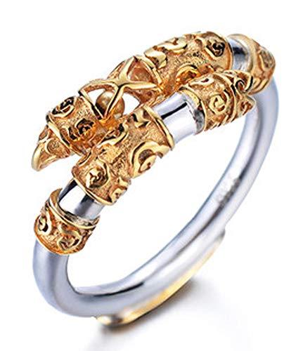 RXSHOUSH Herren-Ring, 18 Karat Gold, S925 Silber, offener Ring, Sohn, Freund, Geschenk, modisch, trendiger Schmuck