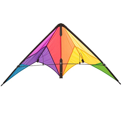 HQ Kites Beach and Fun Calypso II Radical- Beginner Stunt Kite - 43 Inch Dual - Line Sport Kite, Color: Rainbow - Active Outdoor Fun for Ages 8 Years and Up - Perfect for Adults or Children