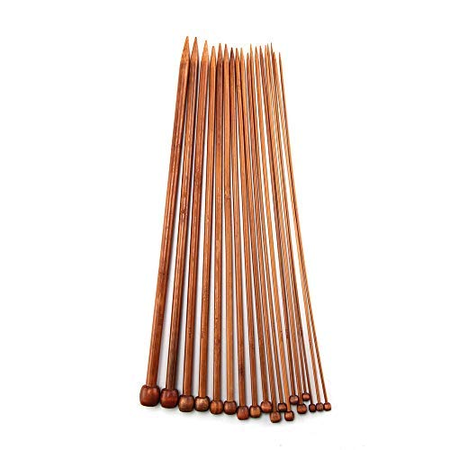 DIYARTS Set di Ferri da Maglia in bambù 36 Pezzi Kit di Ferri da Maglia Carbonizzati A Punta Singola per Principianti E Professionisti Fai-da-Te Fatti A Mano 2mm-10mm (36mm)