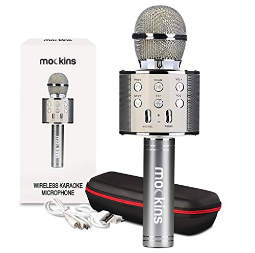 mockins Wireless Bluetooth Karaoke Microphone with Built In Bluetooth Speaker All-in-One Karaoke Machine | Compatible with Android & Ios Iphone - Silver Color