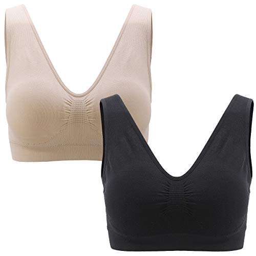 LUSM Comfort Flex Sports Bra for Women Yoga Gym Cozy Daily Wear Bras with Removable Pads 2 Pack (Beige + Black)