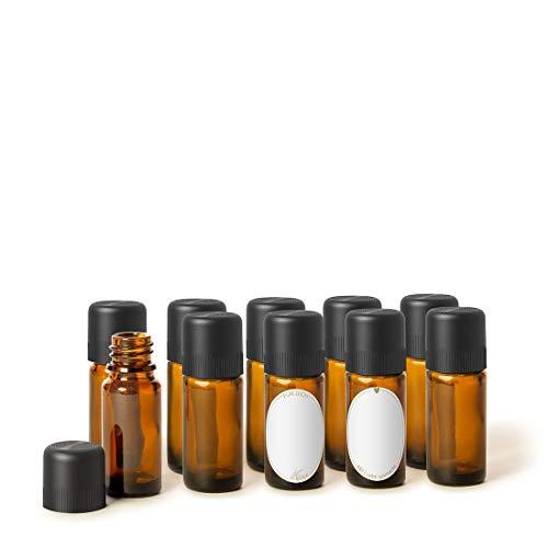 PRIMAVERA Leerflaschenset 10 x 10 ml - Flaschen zum Abfüllen - mit Tropfeinsatz, Verschluss und Etikett - Aromatherapie, Duftmischungen