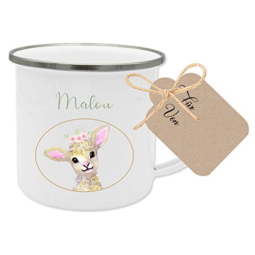 Manufaktur Liebevoll Tasse mit Namen und Motiv Schaf I Besonderes Geschenk für Kinder I Geschenkidee für Mädchen zum Geburtstag, zu Weihnachten uvm. I mit Geschenkanhänger