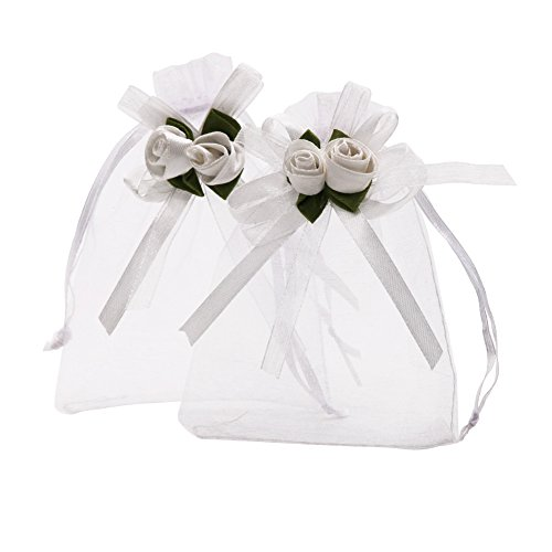 SumDirect 50pcs White Rose Organza Gift Bags,4x4 7 10 inch Wedding Favor Gift Bags, Jewelry Pouches with Drawstring for Party Wedding Christmas (4x4.7inch, White)