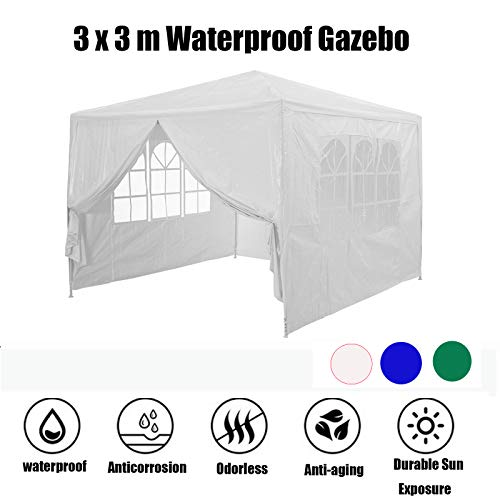 JAOSY Gazebo 3x3 M, Gazebo with Sides, 4 Removable Side Parts & 1 Door with Zip, Made of Special Material 120g PE Plane & Plug in System, Easy to Install, Waterproof Gazebos for Gardens (White)