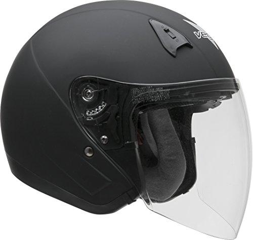 Vega Helmets VTS1 Open Face Motorcycle Helmet with Inner Sunshield  DOT Certified Full Face Shield & Visor Motorbike Helmet for Cruisers Street Bike Scooter Touring Moped Moto (Matte Black, Small)