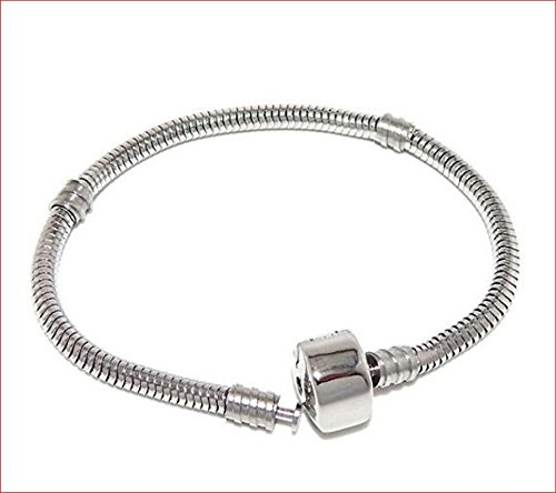 """"""" the Forever Bracelet"""" Stainless Steel Starter Charm Bracelet Barrel Snap Clasp for Adults & Kids Fits European Style Beads (Barrel Snap Clasp 6.5"""")"""