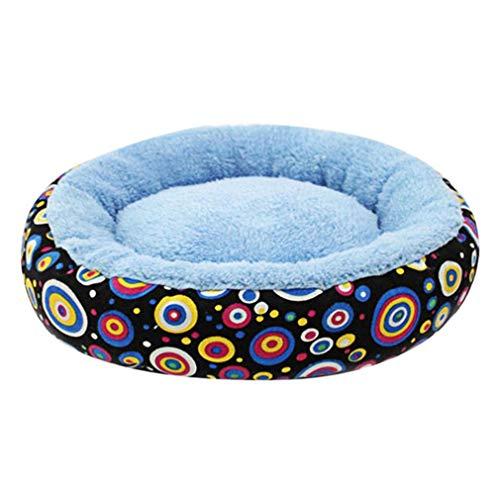 ZTT Couchette Chaud Nest, Amovible et Lavable Lit Chewy Fluffy Toile Imprimer Ronde Respirant Hiver Pet Supplies Nest Matelas,A