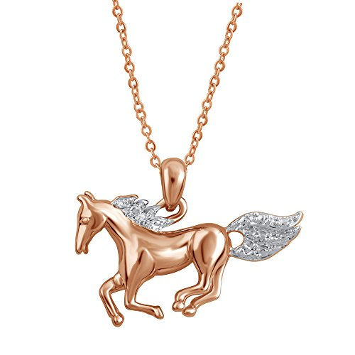 Stylish Rose Gold Plated Prong Set Running Horse Necklace Pendant (Diamond Quality -J, I3) Chain Animal Lovers Casual Jewelry for Women Teen Girls Her  by La4ve Diamonds  Gift Box Included