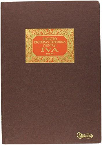 Miquelrius - Libro de Contabilidad, Tamaño Folio Natural, Facturas Expedidas Iva 64, 100 Hojas (Foliado), Cubierta en Tela y Lomo en gomado