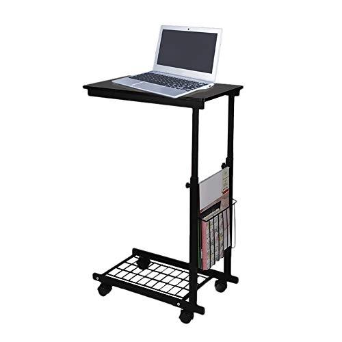 Mesa auxiliar para portátil con ruedas, sofá con estante, mesa de PC, altura regulable, mesa de desayuno, mesa de cuidado con estructura de metal, para cama, sofá, salón, altura 60-80 cm
