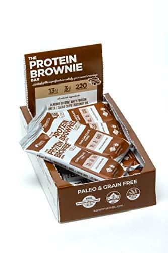 The Protein Brownie Bar by Karen Malkin Health | 12 Bars per Box | Dark Chocolate Fudge | Gluten Free | Non-GMO | Paleo | 13g Protein | 2-Day Shipping