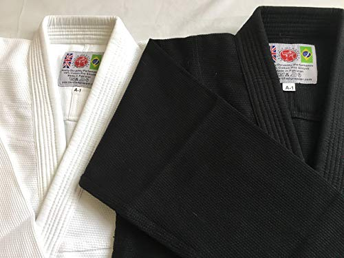 Grappler certificato BJJ Gi WHITE Premium Quality Plain Matching Stitch brasiliano Jiu Jitsu Pearl Weave (A1)