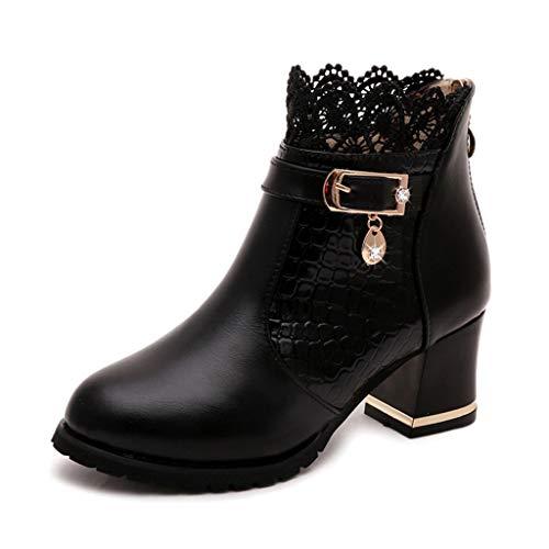 Dorical Damen Stiefeletten Blockabsatz Plateau High Heel Worker Ankle Boots mit Spitze und Reißverschluss Mode Elegant Hochzeit Braut Schuhe Gr 35-40(Schwarz,40 EU)