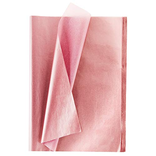 Whaline Rose Gold Tissue Paper Bulk, 100 Sheets Metallic Gift Wrapping Paper for Home, Kitchen, Weddings, Birthday Party, Showers, Arts Crafts, DIY