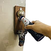 マグネティックボトルコレクターカプセル付きの素朴な壁掛け式ボトルオープナー-アップサイクルウッドビールオープナープラーク-バスケットボールバスケットボールデザイン