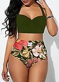 Pieza Bañador Mujer Alta Cintura Push Up con,Bikini Acolchado para Mujer, Sexy Traje de baño Floral de Cintura Alta-A_M,Mujer Bikinis Tanga Push Up Playa Traje de Baño