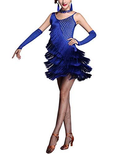 SPDYCESS Abiti da Ballo Latino Donna Costume da Ballo Dancewear - Sexy Strass Nappa Abito da Danza Salsa Tango Samba Vestito da Competizione Ballroom Feste Vestito da Cocktail