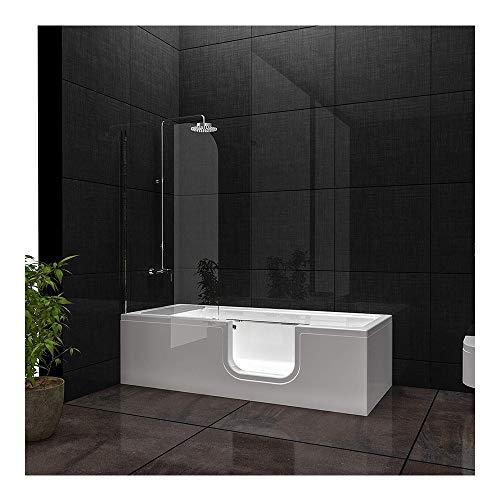 Vitra Combo Badewanne Einstieg rechts aus Sanitäracryl, Seniorenbadewanne mit Glastür | Seitenschürze rechts Fußgestell Inklusive Ab- und Überlaufgarnitur Weiß