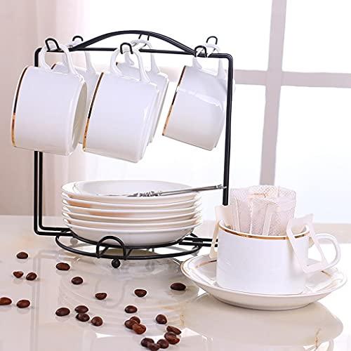 Latte Art Cup European 12 piezas tazas de té y platillos de cerámica con 6 cucharas y 1 soporte, para el hogar, restaurantes para amigos, blanco 150 ml/5 oz Coffeezone