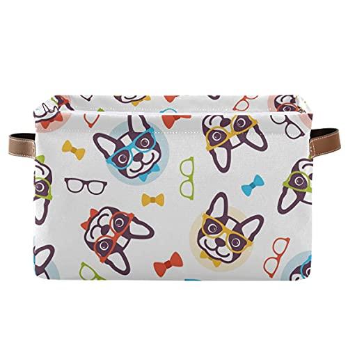 ECHOBU - Cubo de almacenamiento de gafas para perro con asa plegable de lona para almacenamiento, organizador para dormitorio, hogar, oficina, armario, estantería, ropa, juguete, 1 unidad