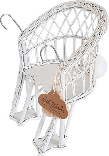 Fahrradkorb für Puppen Flechtwaren in Weiss Farbe B: 23 cm, T: 17 cm, H: 32 cm, Maße des Sitzes: 12 cm x 17 cm