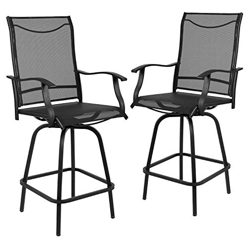 "Flash Furniture 30"" All-Weather Patio Swivel Outdoor Stools, Black, Set of 2"
