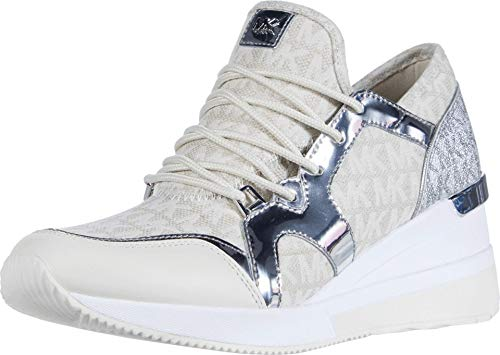MICHAEL Michael Kors Liv Trainer Sneakers Dames Beige/Zilver - 36 - Lage Sneakers Shoes