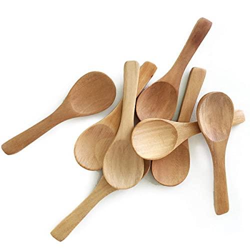 30 Pieces Small Wooden Spoons, Short Handle Mini Condiments Salt Spoons Nature Wooden Honey Teaspoon Coffee Tea Jam Mustard Ice Cream Milk Powder Spices (Natural Wood Color)