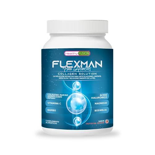 Flexman Plus | Colágeno Marino + Glucosamina + Vitamina C | Formulado para hombres | Elimina el dolor en músculos, articulaciones y huesos | Potente antiinflamatorio con acción analgésica | 400 gramos