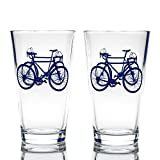 Greenline Goods - Bicycle Beer Glasses (Set of 2) |16 oz Drinkware with Colorful Cyclist Designs | Premium Decorative Glassware | Unique Gifts for Cyclists & Bike Riders [Navy]