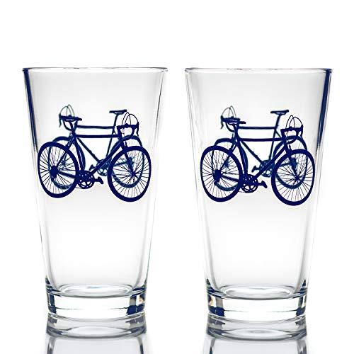 Greenline Goods Fahrradbiergläser (2er-Set) | 16 oz Trinkgeschirr mit farbenfrohen Radfahrer-Designs - Einzigartige Geschenke für Radfahrer & Radfahrer [Navy]