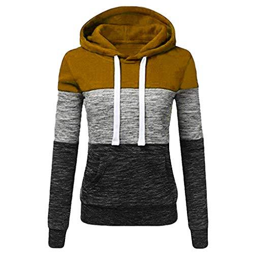 TOPKEAL Hoodie Pullover Damen Herbst Winter Kapuzenpullover Sweatshirt Lässige Winterpullover Patchwork Jacke Mantel Tops Mode 2020 (S, Khaki)