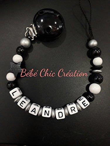 Attache sucette personnalisable Noir et Blanc