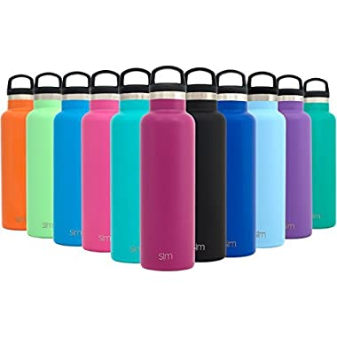 Simple Modern 20oz Ascent Water Bottle - Stainless Steel Hydro Swell Flask w/Handle Lid - Double Wall Vacuum Insulated Violet Reusable Tumbler Small Kids Coffee Leakproof Thermos - Orchid