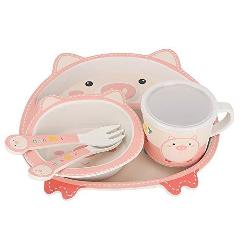 Juego de alimentación de fibra de bambú para la hora de comer, vajilla para niños, dibujos animados bonitos para niños pequeños, niñas y niños(Love pig)