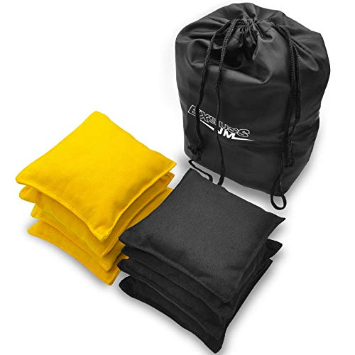 JMEXSUSS Weather Resistant Standard Corn Hole Bags, Set of 8 Regulation Cornhole Bags for Tossing Game (Black/Yellow)