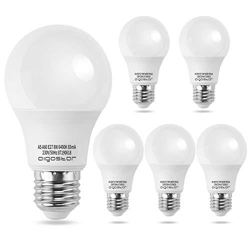 Aigostar - Lampadina LED E27 8W, Luce Bianca Fredda 6400K, 680 lm, Angolo del Fascio di 280 Gradi, Non Dimmerabili, Confezione da 5.