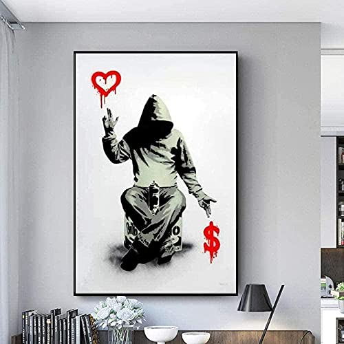 liujiu Banksy Abstract Graffiti Art Canvas Painting Street Art Posters e impresiones Imágenes artísticas de pared para decoración del hogar -60x80cm (Sin marco)