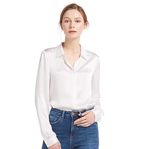 LilySilk Damen Hemdbluse Seide Sommerliche Damenbluse Shirt mit verdeckter Knopfleiste von 22 Momme (Brillantweiß, S) Verpackung MEHRWEG