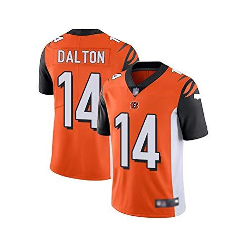 Rugby-Trikot Andy Dalton # 14 Cincinnati Bengals American-Football-Trikot, Unisex Sports Kurzarm-Sweatshirt Fitness Atmungsaktive Stickerei Wiederholbare Reinigung Bestes Geschenk-orange-3XL(195cm~210